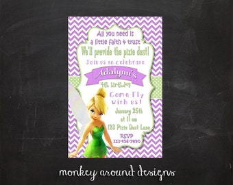 Tinkerbell Birthday Party Invitations   6% off coupon in description!!