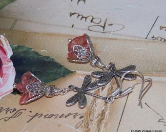 Czech Glass Flower Earrings, Pink Flower Earrings, Handmade Earrings, Drop Earrings, Boho Earrings, Victorian Earrings, Dragonfly Earrings