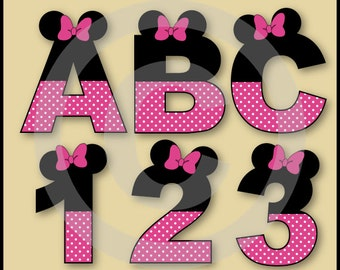 Pink Minnie Alphabet Letters & Numbers Clip Art Graphics