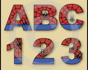 Spiderman Alphabet Letters & Numbers Clip Art Graphics