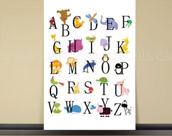 Alphabet Poster - Nursery Wall Art - Playroom Poster - Alphabet Wall Art - Alphabet Nursery Art - Alphabet Nursery - Nursery Art - 22-1003