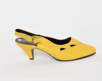 Vintage 80's Yellow Slingback Heels