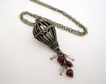 Hot air balloon necklace steampunk vintage inspired red hearts beads antique bronze