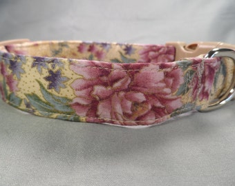 Elegant Gilded Purple Flowers Girl Dog Collar