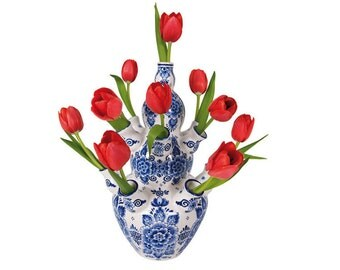 Flowers, Decals, Vase, Home Decor, Pink, Bouquet, Photography ('Flat Flowers' Window stickers / Delft Blue vase Red Tulip)