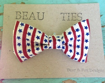 Baby Boy Toddler clip-on bow tie stars stripes Fourth of July
