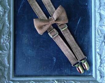 Adult Mens Suspenders Bow Tie set Brown Linen