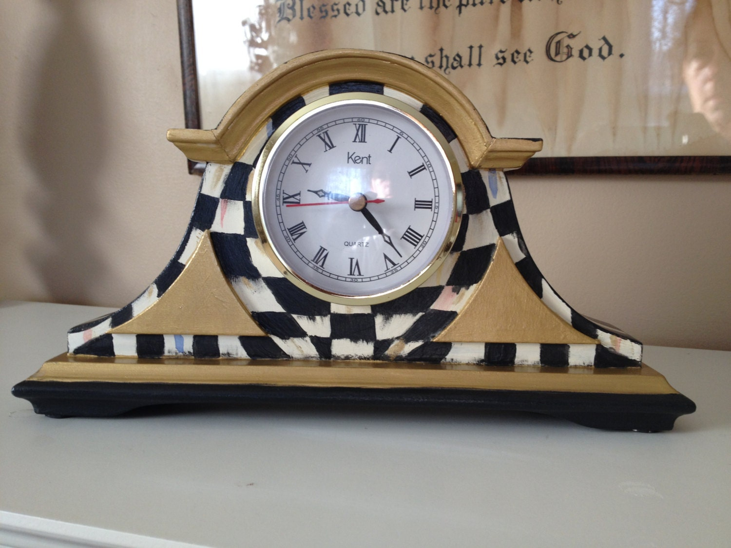 Whimsical Black And White Mantle Clock