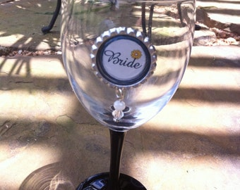 Wedding magnetic wine glass charms