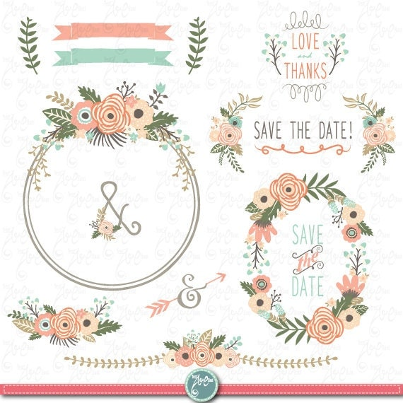 "Save The Date Wedding Floral Ornament Wedding Floral: Wedding Clipart Pack: ""FLORAL WREATH ""clip Art, Vintage"