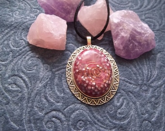 Pink Oval Resin Pendant