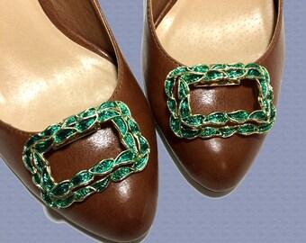 Vintage Shoe Clips - Green Enamel on Gold Tone Metal Leaf Motif