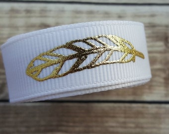5/8 inch WHITE FEATHER grosgrain ribbon