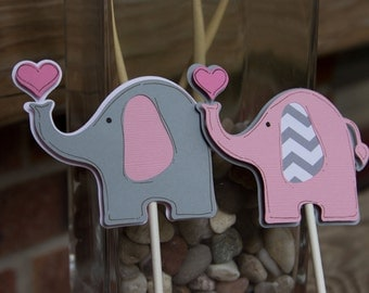 Baby Elephant Cupcake Toppers - Pink and Gray