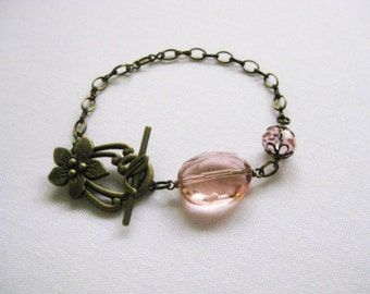 Pretty Peach Crystal And Toggle Bracelet