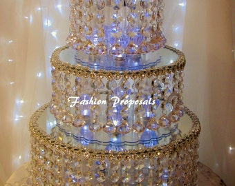 Wedding 3 Tiers cake stand, Wedding crystal cake stand and separators set of 3