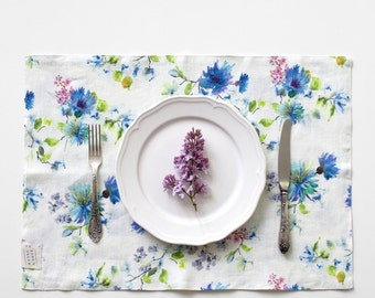 Summer Flowers Stone Washed Linen Placemat