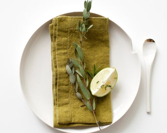Set of 2 Moss Green Stone Washed Linen Napkins