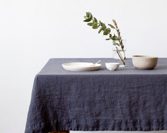 Dark Grey Stone Washed Linen Tablecloth