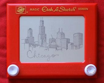 Chicago Skyline Etch a Sketch