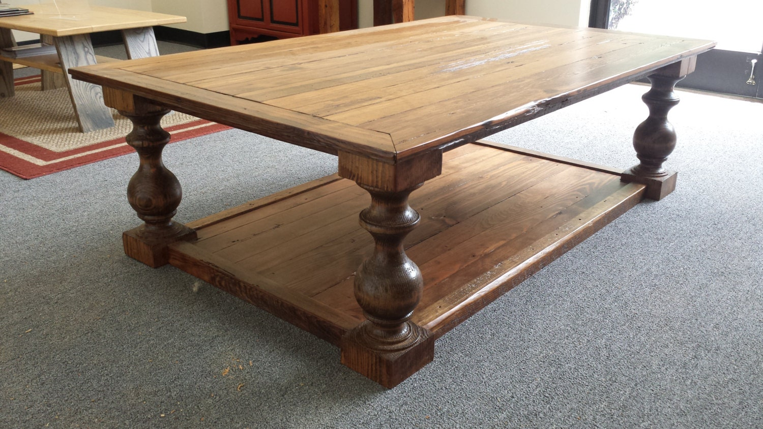 Reclaimed Barnwood Beam And Flooring Baluster Coffee Table