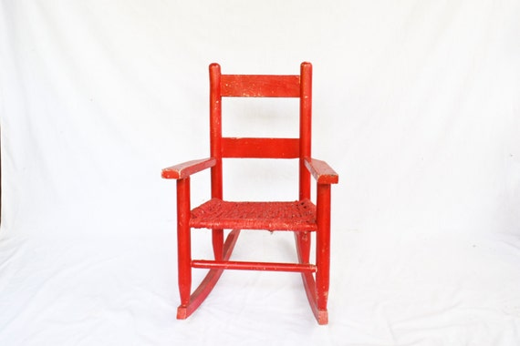 Child Red Rocking Chair ~ Childs wooden chair vintage wood red rocking