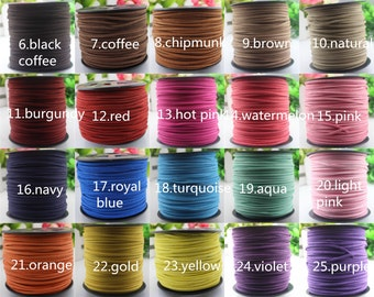 30/90 ft. Faux Suede Lace Leather Cord Velvet Cord Flat 2.8 x 1.5 mm. You pick the color