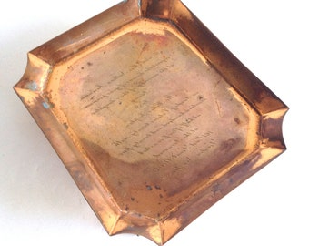Antique Copper Engraving Tray