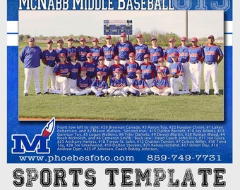 PSD sports team photo - photoshop template for professional photographers - 16x20 - mix and match styles & layers - memory mate