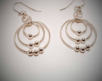 Beaded Sterling Silver 3 Hoop Earrings