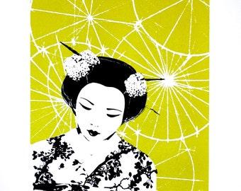 Japanese print, 50 x 70 print, limited edition screen print, geisha print, Japanese geisha art, chartreuse art, contemporary art print
