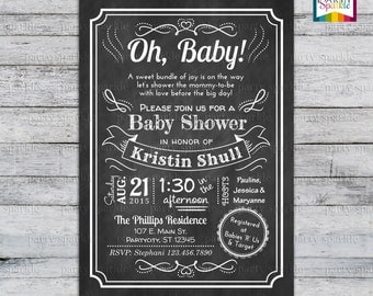 Oh Baby! Chalkboard Baby Shower Invite - Gender Neutral Personalized - Digital Printable Invitation 4x6 or 5x7 jpg or pdf