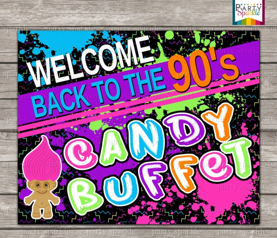 Instant download back to the 90s retro birthday party candy for 90 s party decoration ideas