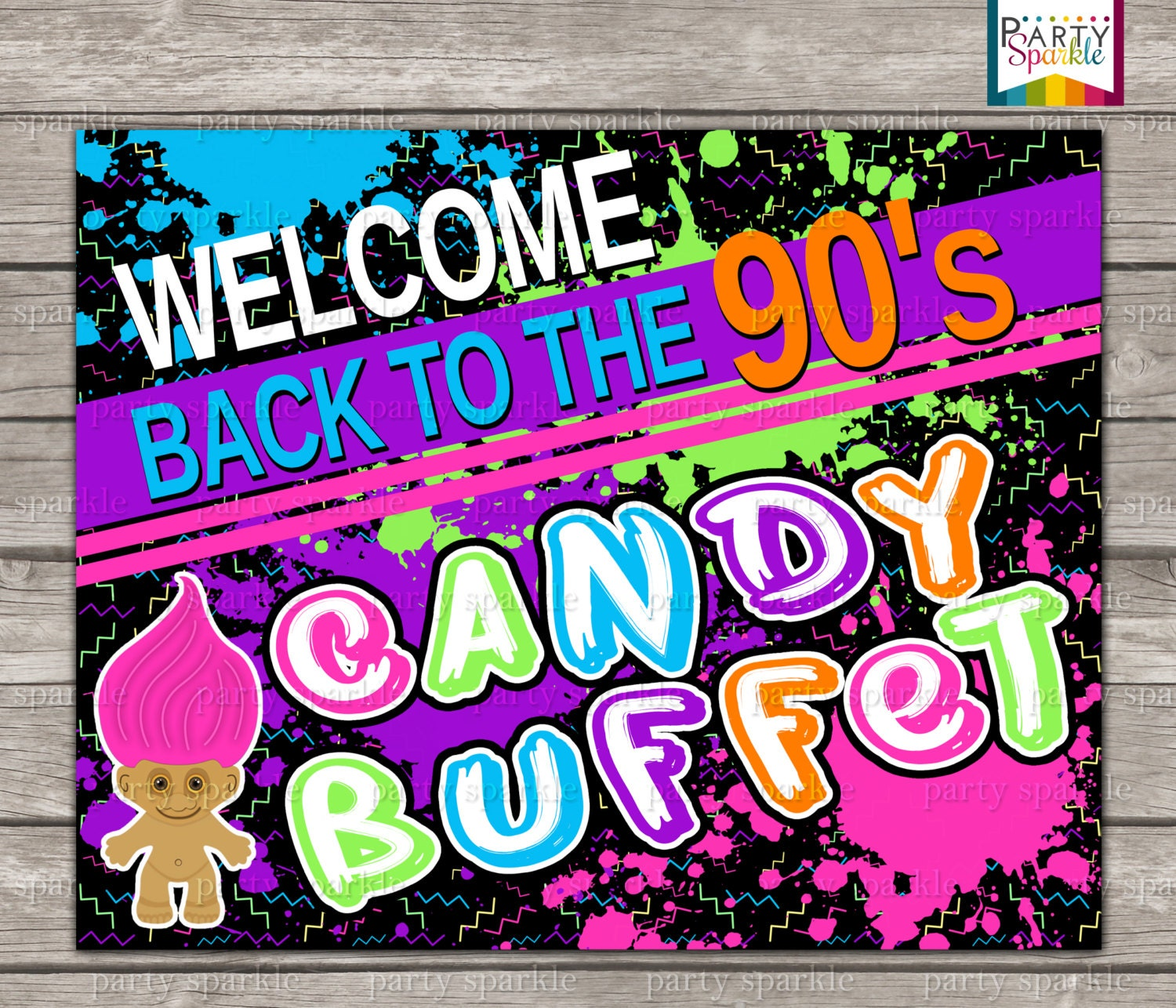 Instant download back to the 90s retro birthday party candy for 90 s decoration ideas
