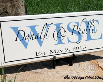 Wedding Gift, Wedding Signs, Anniversary, Personalized Name Sign,Wooden Sign, Hand Painted Wood, Custom Painted Wood Sign, Established Name