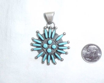 Vintage Old Pawn Southwest Sterling Silver Inlaid Blue Turquoise Petit Point Needlepoint Pendant Big Large Flower Sun for Necklace Marked