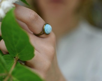 Turquoise Mosaic Ring // turquoise white ring, summer jewelry, adjustable ring
