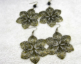 Earrings/ bronze/light weight/black bead/filigree/flower design/ cheap/affordable/. .