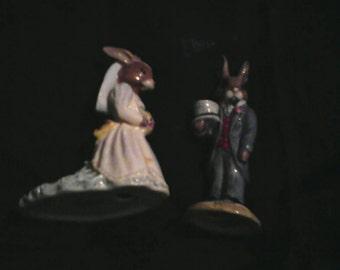 Royal Doulton Bunnykins Bride 1990 / Groom 1990.