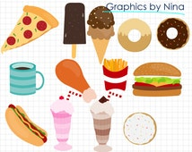 50% SALE INSTANT DOWNLOAD/ Fast Food clipart / Scrapbook/ for Personal and Commercial Use