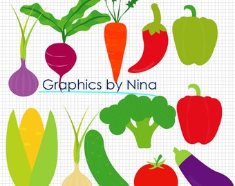 INSTANT DOWLOAD    Vegetables Veggies Clipart  Scrapbook for Personal and Commercial Use