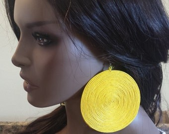 Extra large Round circle earrings handmade out of sisal material different colors