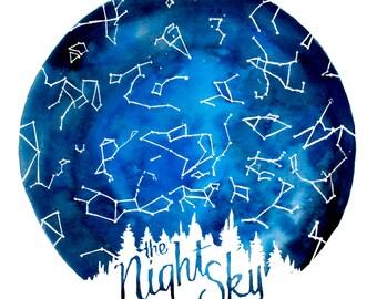 "The Night Sky // ILLUSTRATION // 12x12"""