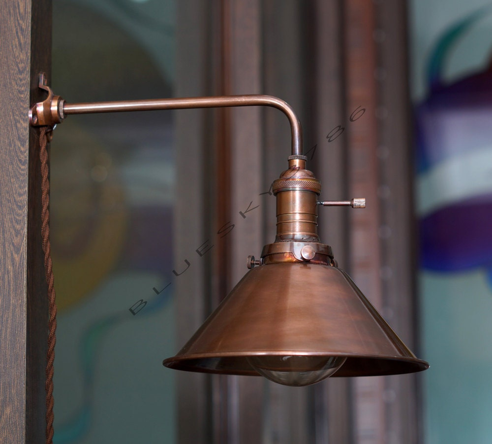 Industrial Vintage Copper shade Wall Lamp Retro by bluesky3786