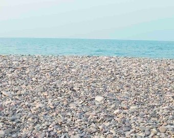 Photo Print or Canvas Gallery Wrap - Smooth Rocks and Aqua Blue Water, Scituate, Massachusetts Secret Beaches, Egypt Beach