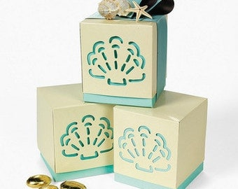 Beach Theme Sea Shell Clam Favor Boxes - Wedding, Party Package of 12