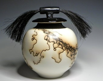 Black & White/Horsehair/Raku/OOAK/Art Pottery/Ceramic Lidded Vase/Pet Urn/Home Decor