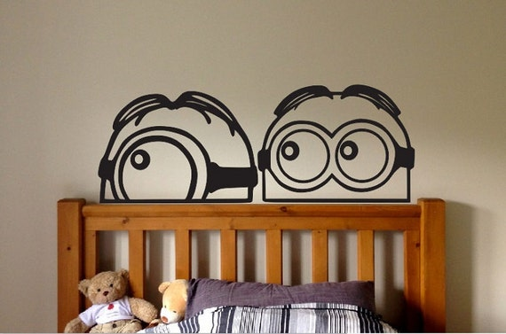 Minion minions vinyl wall decal sticker despicable me peeking for Disney cars wall mural full wall huge
