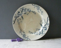 Antique French Large  Ironstone Blue Transferware Dish,with a pattern of bird and flowers.