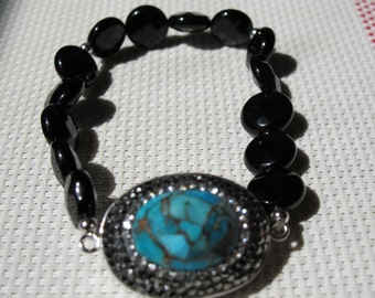 Natural Turquoise with Black Agate 925 Sterling Silver Bracelet B4